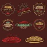 Logos italiens de nourriture de hippie de vecteur Signes modernes etc. de pâtes et de pizza Illustrations méditerranéennes tirées Images stock