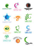 Logos with letter C. A colourful set of company logos with letter C on white background Royalty Free Stock Photo