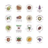 Logos lineare di vettore del bio- olio sano dei cosmetici royalty illustrazione gratis