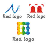 Logos media letter m in colors royalty free stock image