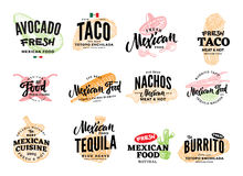 Logos mexicains tirés par la main de nourriture illustration libre de droits