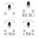 Logos mit Fechter einzäunend, kreuzte Maske, die Folien, ieasy, um zu redigieren Stockfotografie