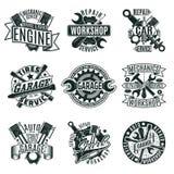 Logos monocromatico di servizio di riparazione dell'automobile messo illustrazione vettoriale