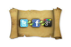 The logos of the most important social networks. On parchment, connected to each other Stock Image