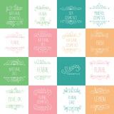 Logos naturels de cosmétiques, stigmatisant, labels Cosmétologie et Beaut Image stock