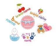 Logos per i prodotti dei bambini Fotografia Stock Libera da Diritti