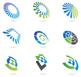 Logos in perspective. Logos and graphic design elements in perspective vector illustration
