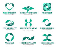 Logos for pharmacies, clinics, medical, cosmetics and health Royalty Free Stock Photos
