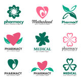 Logos for pharmacies, clinics, medical and health Stock Image