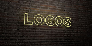 LOGOS -Realistic Neon Sign on Brick Wall background - 3D rendered royalty free stock image Stock Photography