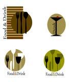 Logos for restaurants. Vector logos mix for restaurants on white background Royalty Free Stock Images