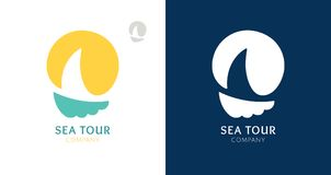 Logos Sailboat and Sun. Abstract logo of a sailboat with sun. Vector icon ship in the sea with text. Round emblems for design of business, holiday, travel agency Stock Image