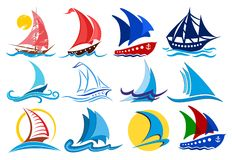 Logos of sailing vessels. Stock Photos