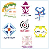 Logos set. Vector logos set. Topics vary from travelling, beauty to social and technical Stock Images