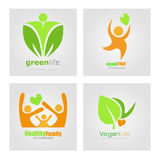 Logos set vegetarian vegan organic food diet. Healthy family lifestyle Vector label. Detox logo. Stock Photo