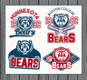 Logos for sport. Set of vintage sport labels, badges and design elements. Graphic Mascot Vector Image of a bear Stock Image