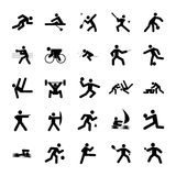 Logos of sports. Olympics buttons black on white background Stock Image