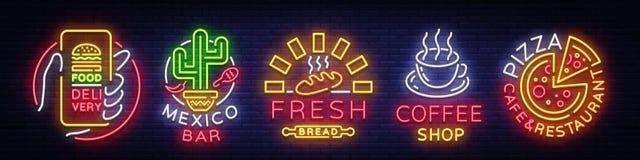 Logos stabilito degli alimenti a rapida preparazione Insegne al neon della raccolta, alimento della via, consegna dell'alimento,  Fotografia Stock
