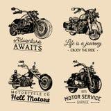 Logos su ordinazione del motociclo e del selettore rotante messo Manifesti ispiratori d'annata, raccolta di stampe della magliett Immagini Stock Libere da Diritti