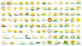 Logos sun and sea. A set of logos with the sun and the sea Royalty Free Stock Images