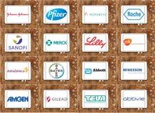 Logos supérieurs et marques de sociétés pharmaceutiques illustration de vecteur