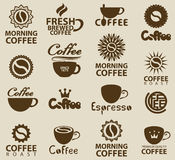 Logos sur le café Photo stock