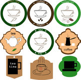 Logos of tea and coffee. Illustration different logos of tea and coffee Stock Illustration