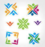 Logos teamwork people. Teamwork colorful people icon logo vector collection set Stock Images