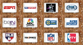 Logos of top famous tv sports channels and networks Stock Images