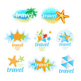 Logos for the travel and tourism. Collection of logos for the travel and tourism Stock Photo