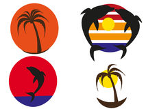 Logos tropical sunsets. Four logos tropical sunsets on white premise stock illustration