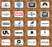Logos and vector of top famous film studios and production cinematography companies. Collection of logos and vectors of most popular film studios and companies royalty free stock image