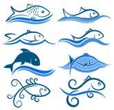 Logos von Fischen mit Welle lizenzfreie abbildung