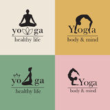 Logos for yoga studio. Set of logos for yoga studio or meditation class. Vector yoga illustration. . Set of labels, stickers, logos and badges. Fitness center Stock Images
