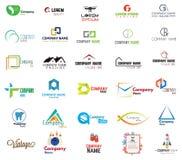 Logosamling på vit bakgrund Arkivbild