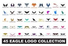 Logosammlungs-Vektorillustration mit 45 Adlern lizenzfreie abbildung