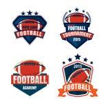 Logoschablonensammlung des amerikanischen Fußballs Stockbild