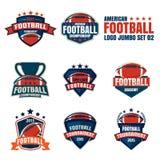 Logoschablonensammlung des amerikanischen Fußballs Stockbilder