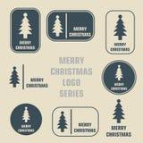 Logoserie för glad jul Arkivfoto