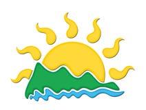 Logosol och hav Arkivbild