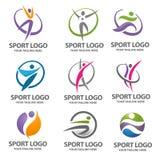 Logosport och konditionvektoruppsättning Royaltyfri Bild