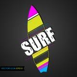 Logosurfen Emblem des Brandungs-Clubs mit surfenden Brettern Vektor Flache Ikone Lizenzfreie Stockfotos
