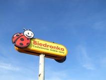Logotecken av den Biedronka supermarket Royaltyfri Bild