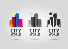Logotipo abstracto de la ciudad plano, color y greyscale Fotografía de archivo