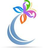 Logotipo abstracto de la mariposa stock de ilustración