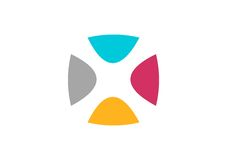 Logotipo abstracto de la red, vector del diseño de la geometría, logotipo del businness de la conexión del equipo, letra X Foto de archivo libre de regalías