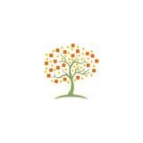 Logotipo abstracto de los datos de la tecnología del árbol Imagenes de archivo
