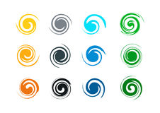 Logotipo abstracto del grunge del remolino, y onda del chapoteo, viento, agua, llama, plantilla del icono del símbolo Imagen de archivo