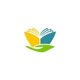 Logotipo abstrato da educação da mão do livro Fotografia de Stock Royalty Free