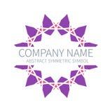Logotipo abstrato do círculo da simetria Harmony Polygon Form Sinais e símbolos criativos Molde do Logotype Cor-de-rosa e roxo ilustração stock
